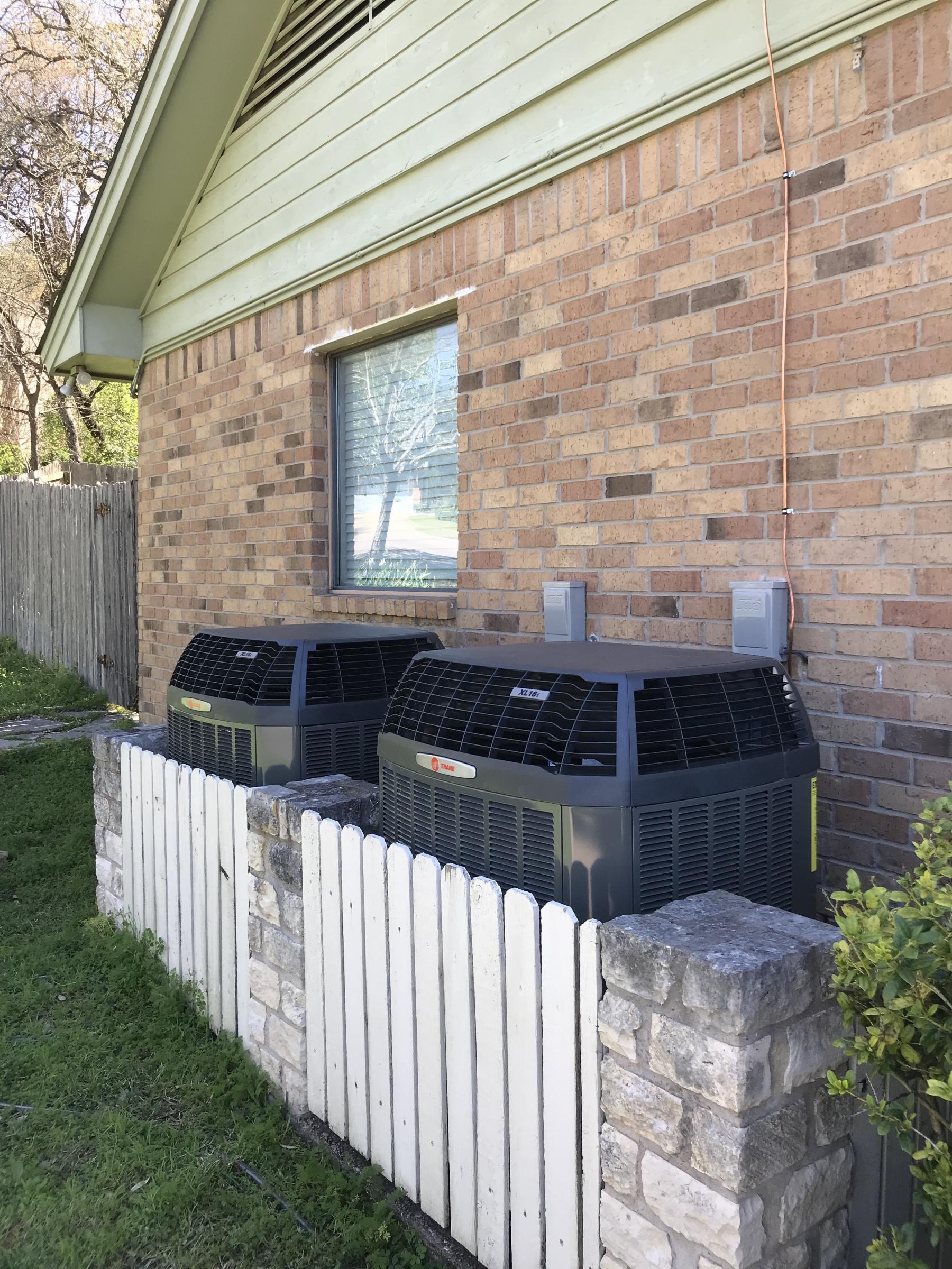 Recent new air conditioning system installation by Green Collar Operations of Austin, Texas.