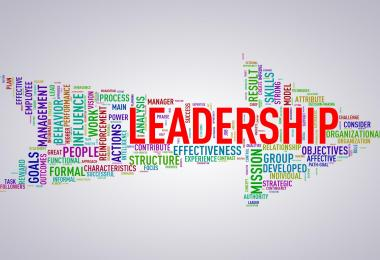 word cloud in the shape of an arrow with the word leadership in the middle